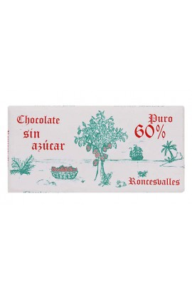 Chocolate Negro 60% Cacao Sin Azúcar Roncesvalles 125 gr