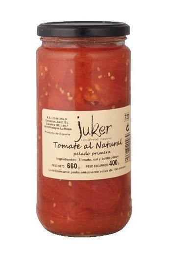 Tomate al Natural Pelado Primera Juker 660 gr