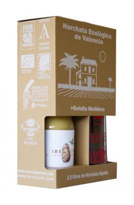 Horchata concentrada Terra i Xufa Pack 500 ml + Botella medidora – D.O. Chufa de Valencia